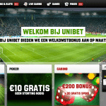 Unibet Homepagina Screenshot