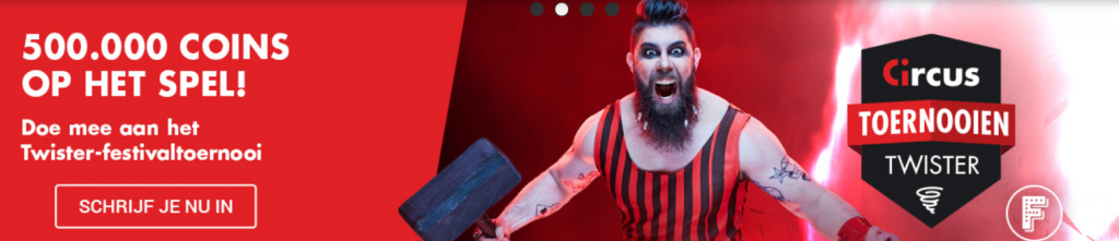Twister toernooien Circus online Casino Festival Coins 2021