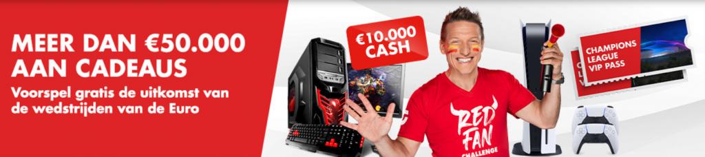 Red Fan Challenge Europees voetbal kampioenschap Circus online Casino Sportwedstrijden €50.000 Cadeaus Quiz