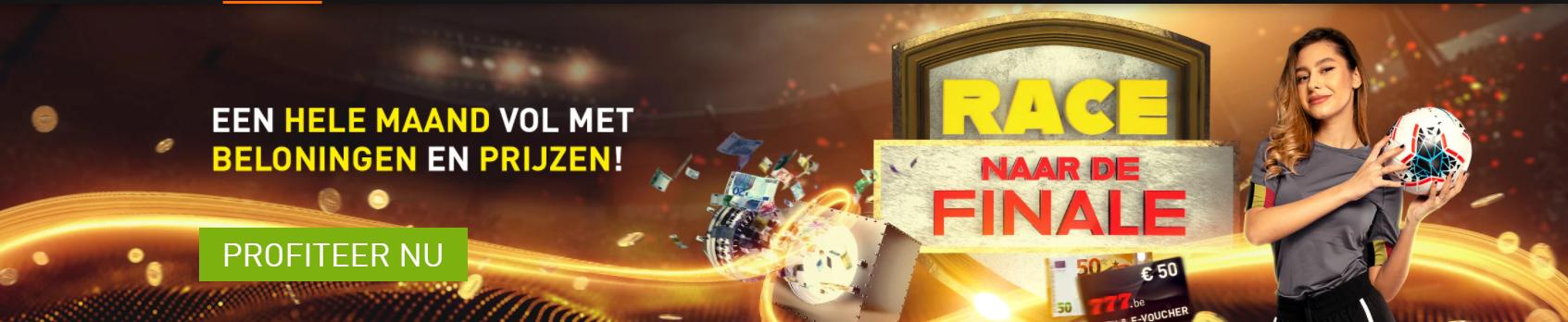 Race naar de Finale Euro 2020 Online Casino 777 Grote prijzenpot Promotie voetbaltoernooi 2021