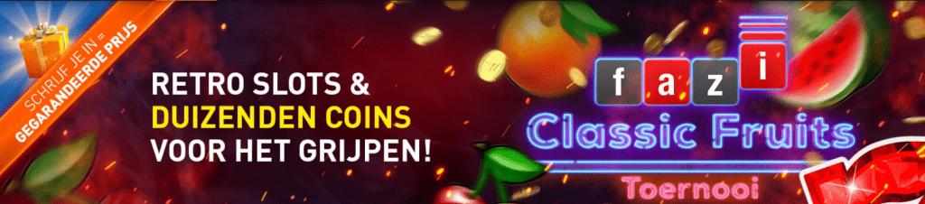 Fazi Classic Fruits Toernooi 2021 Online Casino speelhal 777 Premium Club Coins tokens Jackpots Geldkluis