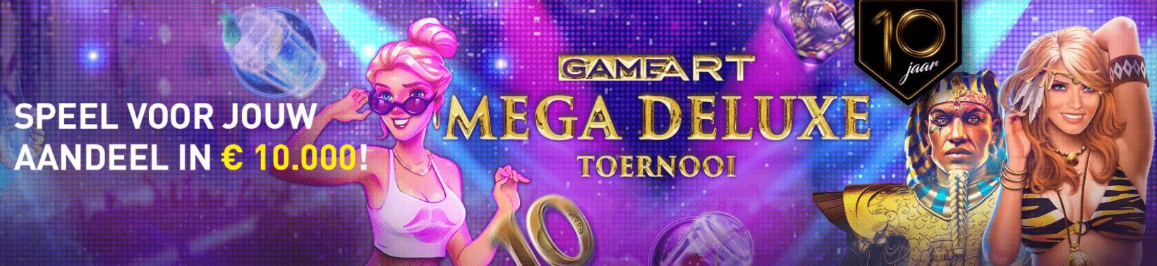 GameArt Mega Deluxe toernooi Online Casino 777 speelhal 10e verjaardag €10.000 Prijzenpot 2021